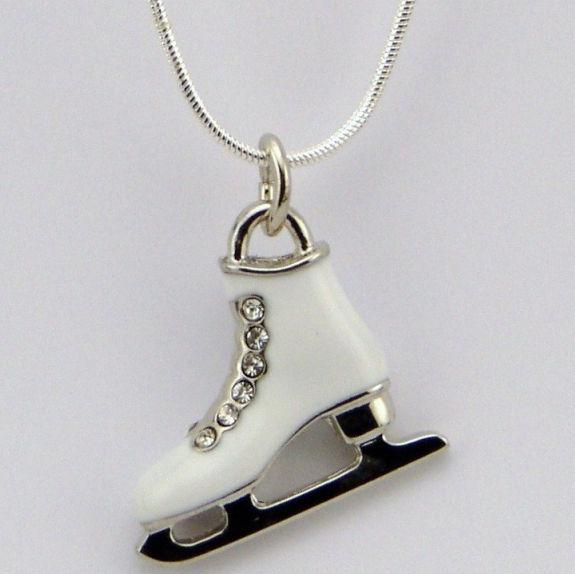 Ice skate pendant necklace ice dancer uk black ice skate boot necklace white ice skate boot pendant aloadofball Gallery